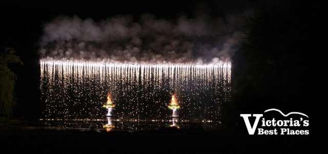 Butchart Gardens Fireworks Waterfall Display